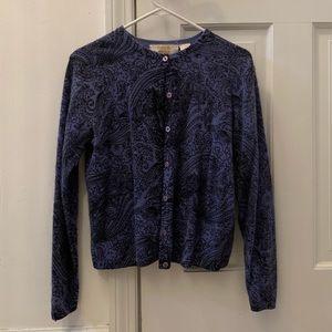 Vintage Style Floral Blue & Black Cardigan